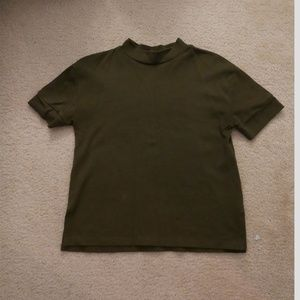 Zara Olive Green Mock Neck T-shirt Size Small